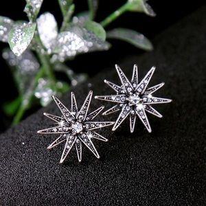 Jewelry - Antiqued Silver/Crystal Starburst Stud Earrings